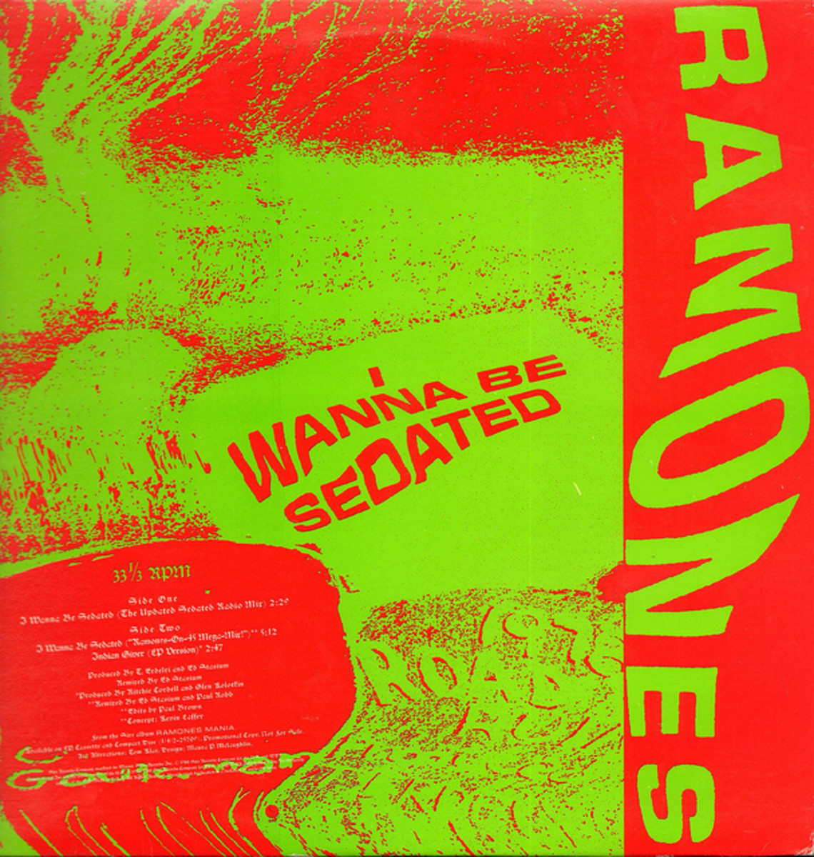 "The Ramones ""I Wanna Be Sedated"" Sire Records PRO-A-3193 12"" Vinyl Record Single 3 Track Version (1988) Promotional Issue Only"