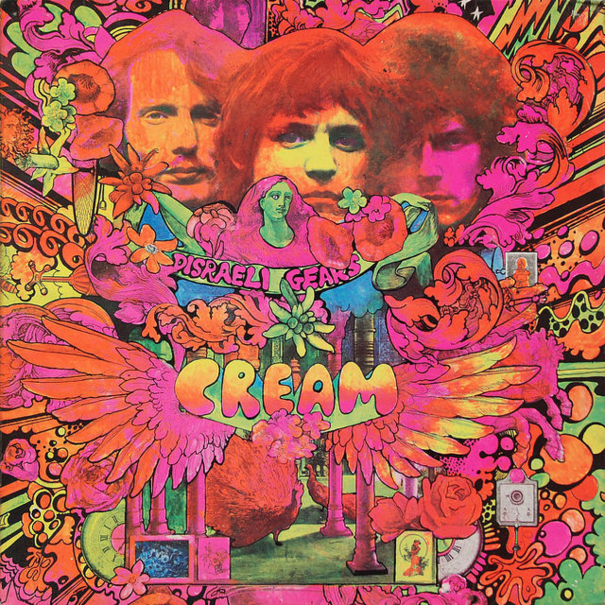 "Cream ""Disraeli Gears"" Reaction Records 593 003 12"" Vinyl Record UK Pressing (1967) Album Cover Art by Martin Sharp"