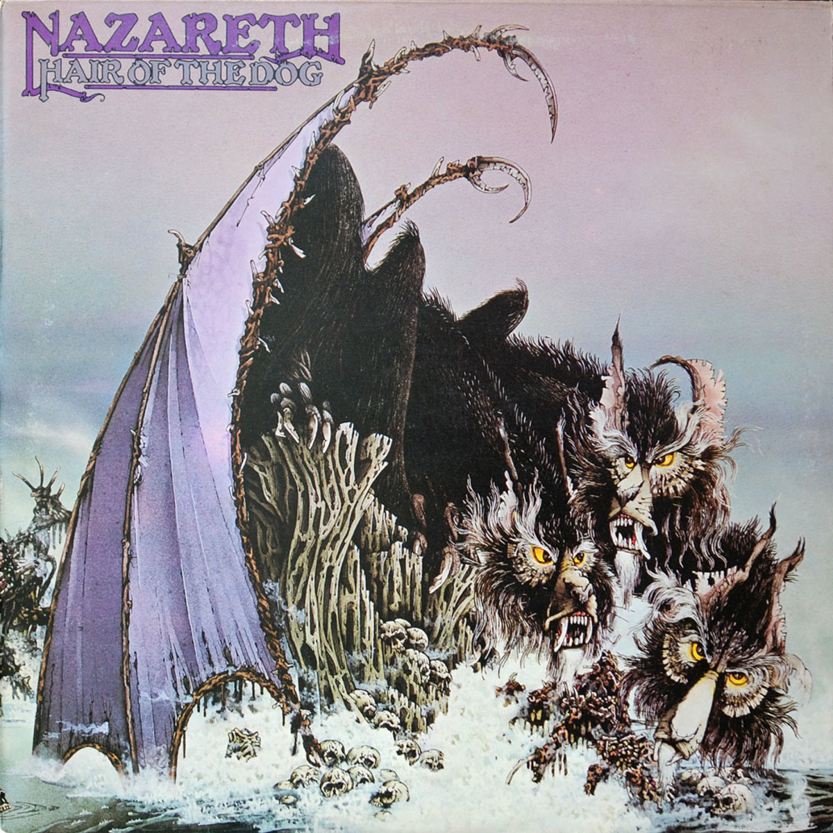 "Nazareth ""Hair Of the Dog"" Mooncrest Records CREST 27 12"" LP Vinyl Record UK Pressing (1975) Album Cover Art by David Roe"