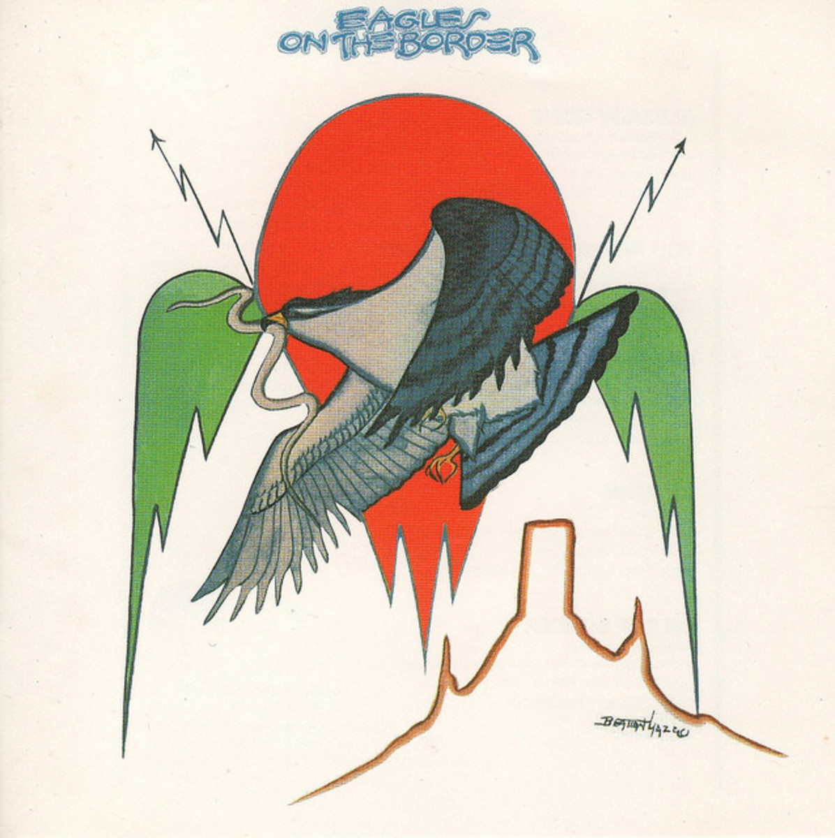 "Eagles ""On the Border"" Asylum Records 7E-1004 12"" LP Vinyl Record, US Pressing (1974) Cover Art by Native American Navajo Artist"