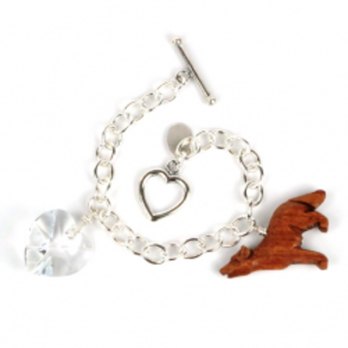 Bella Bracelet with Wooden Wolf Charm and Swarovski Heart Charm