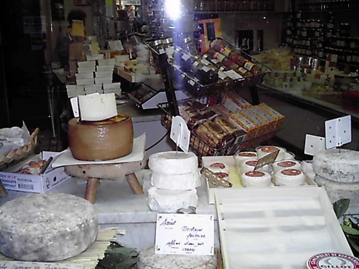 Cheese display from La Maison du Fromage.
