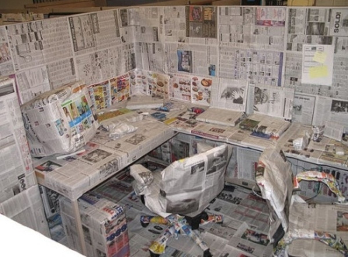 Office Dressed in Newspapers