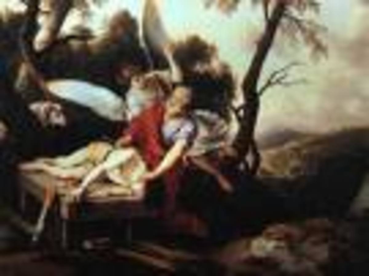 Abraham being resued from slaying his son Isaac.