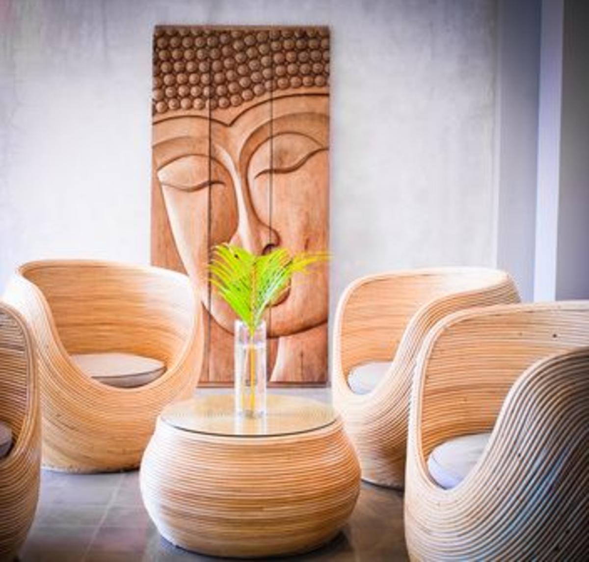 buddha wall art outdoors