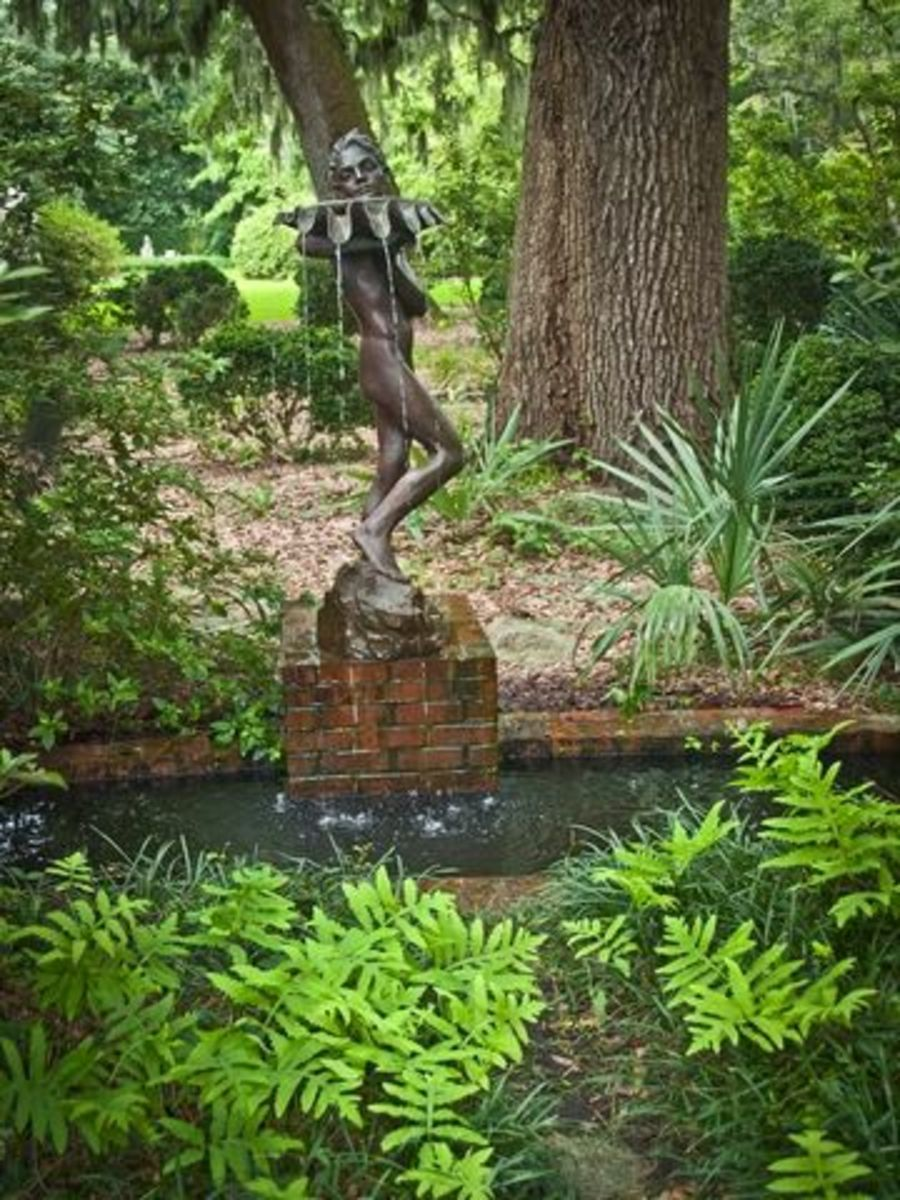 pond statue woman