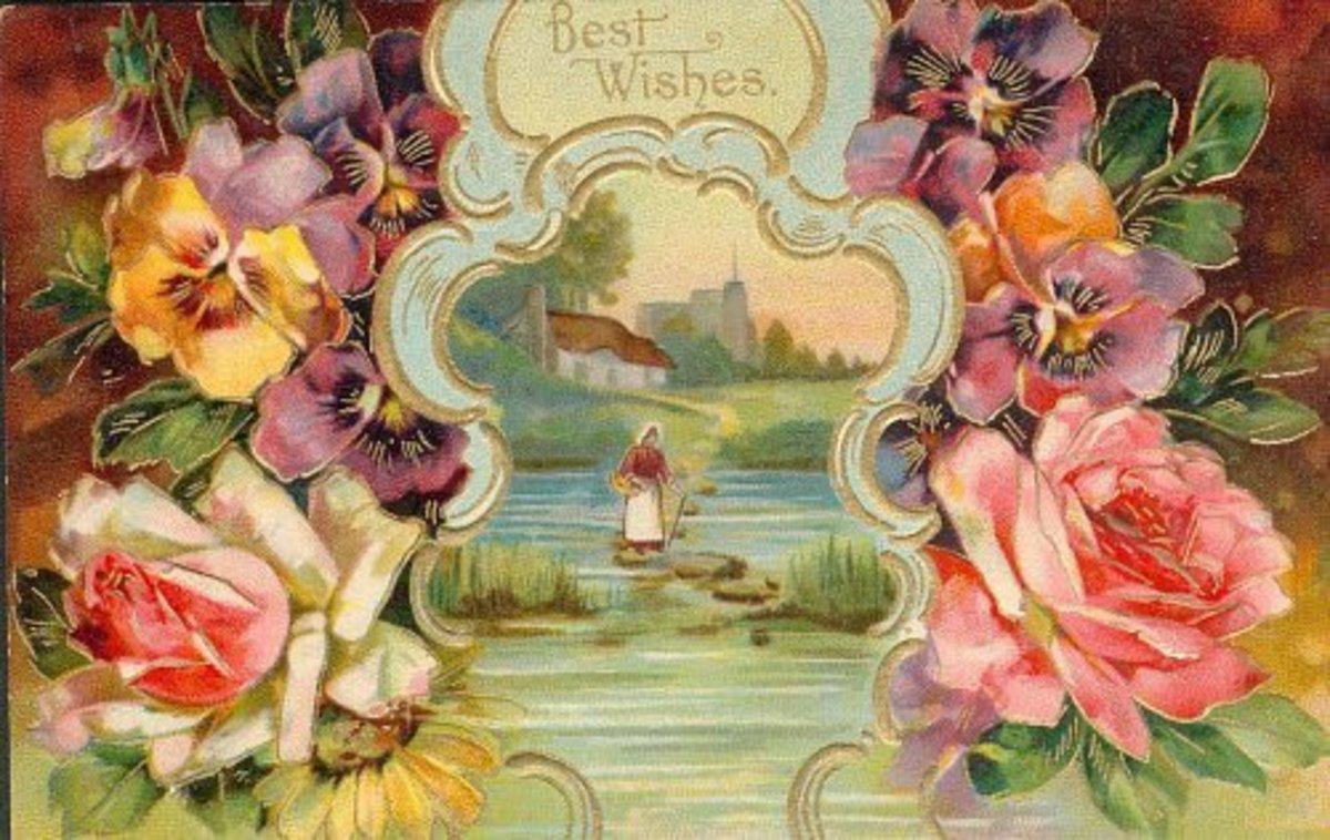 Vintage rose scene clip art