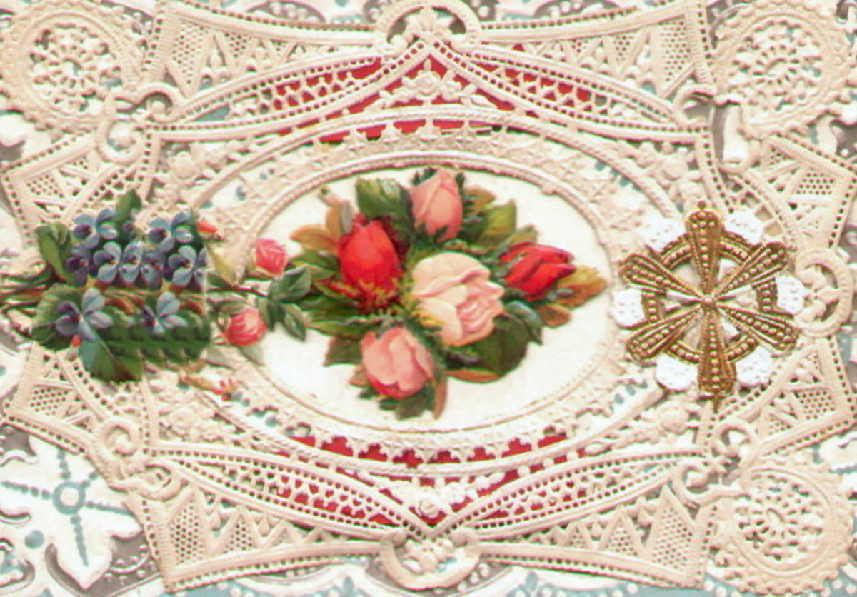 Flowers and antique lace image