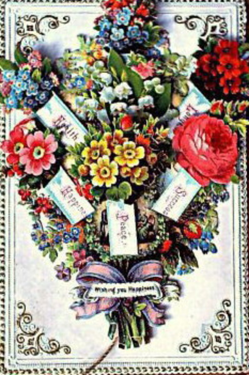 Victorian floral collage clip art