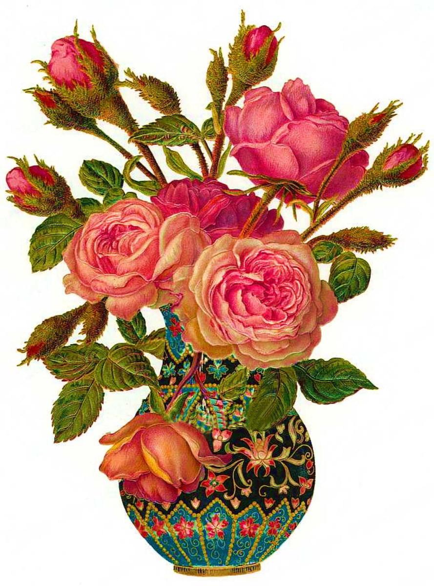 Pink roses in ornate vase
