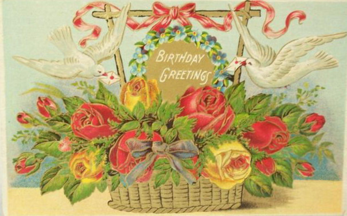 Victorian flower basket with doves clipart