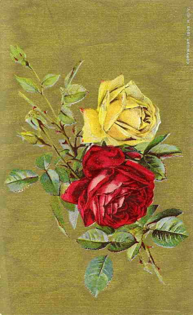 Vintage yellow and red rose on a gold background