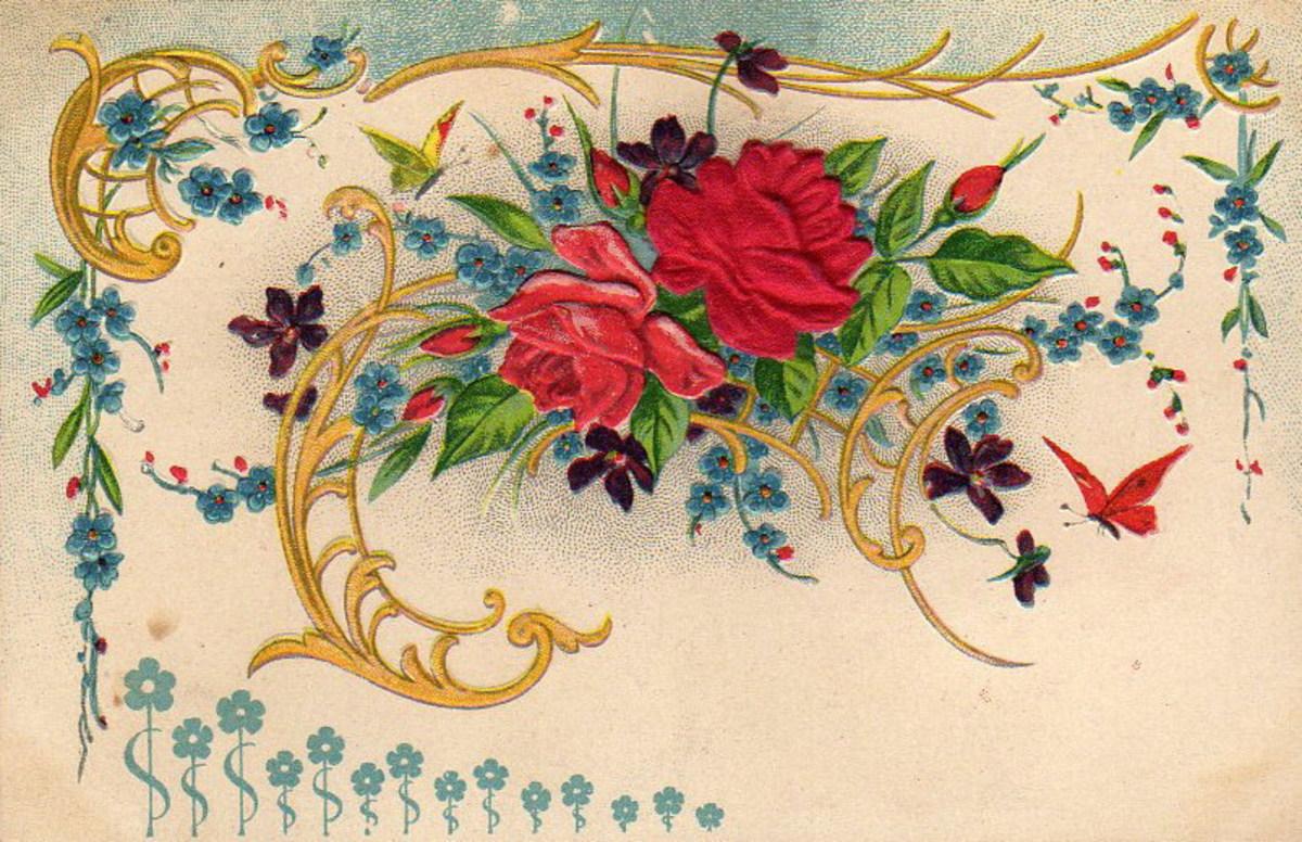 Victorian flower spray clipart