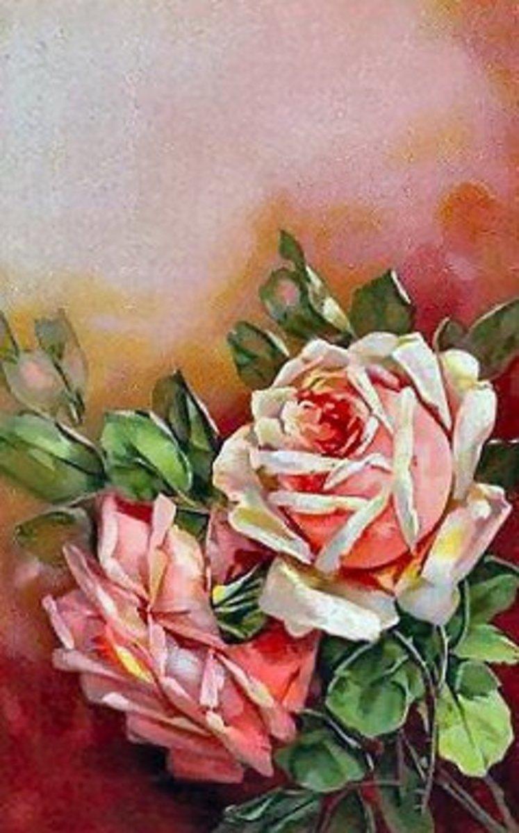 Pink watercolor vintage roses