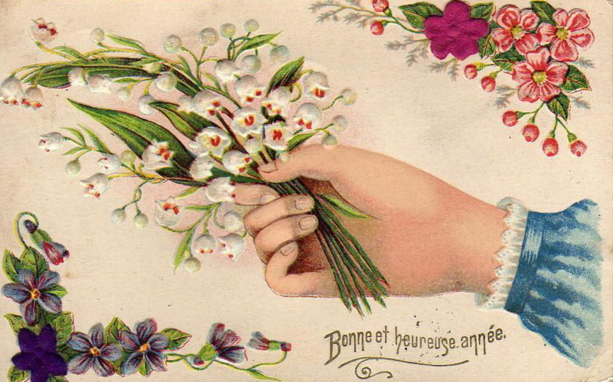 Victorian hand offering flowers clip art