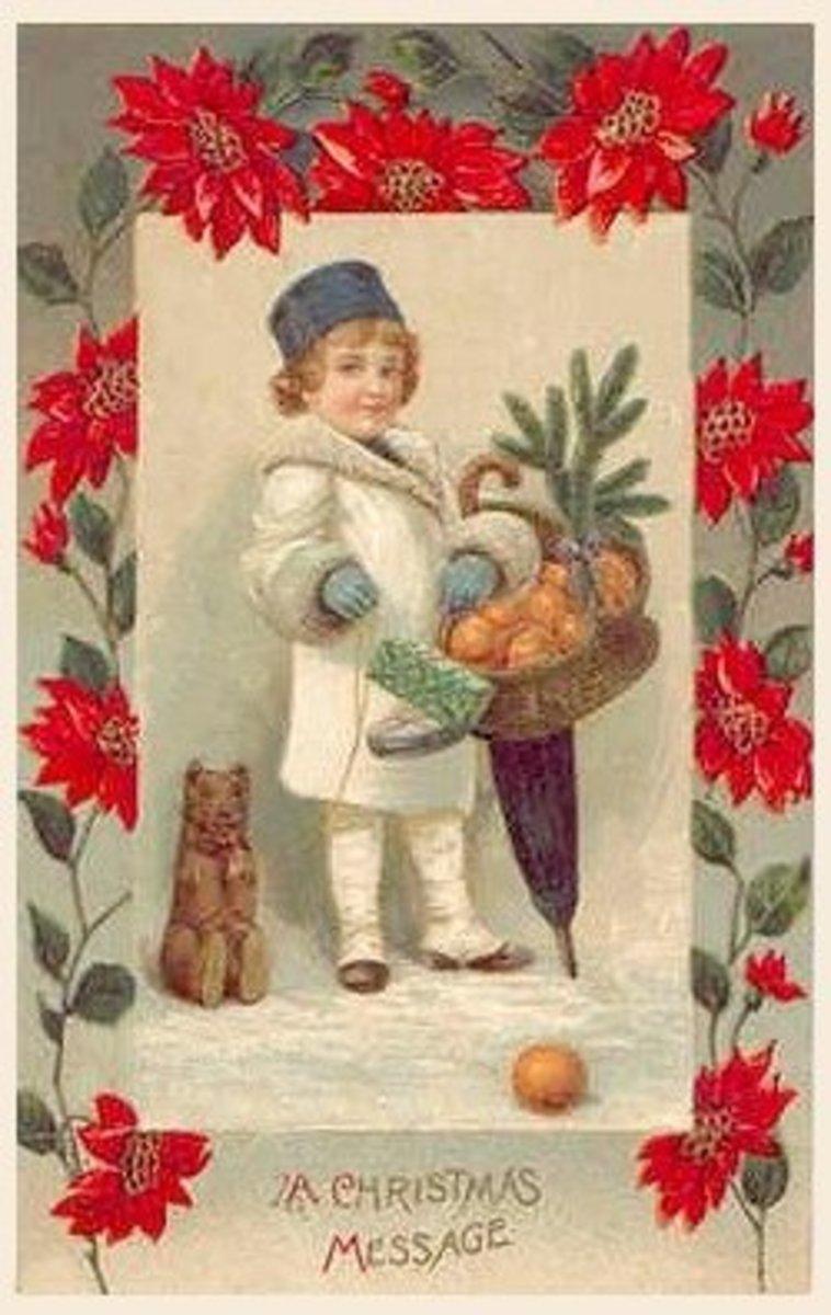 Little boy with poinsettias