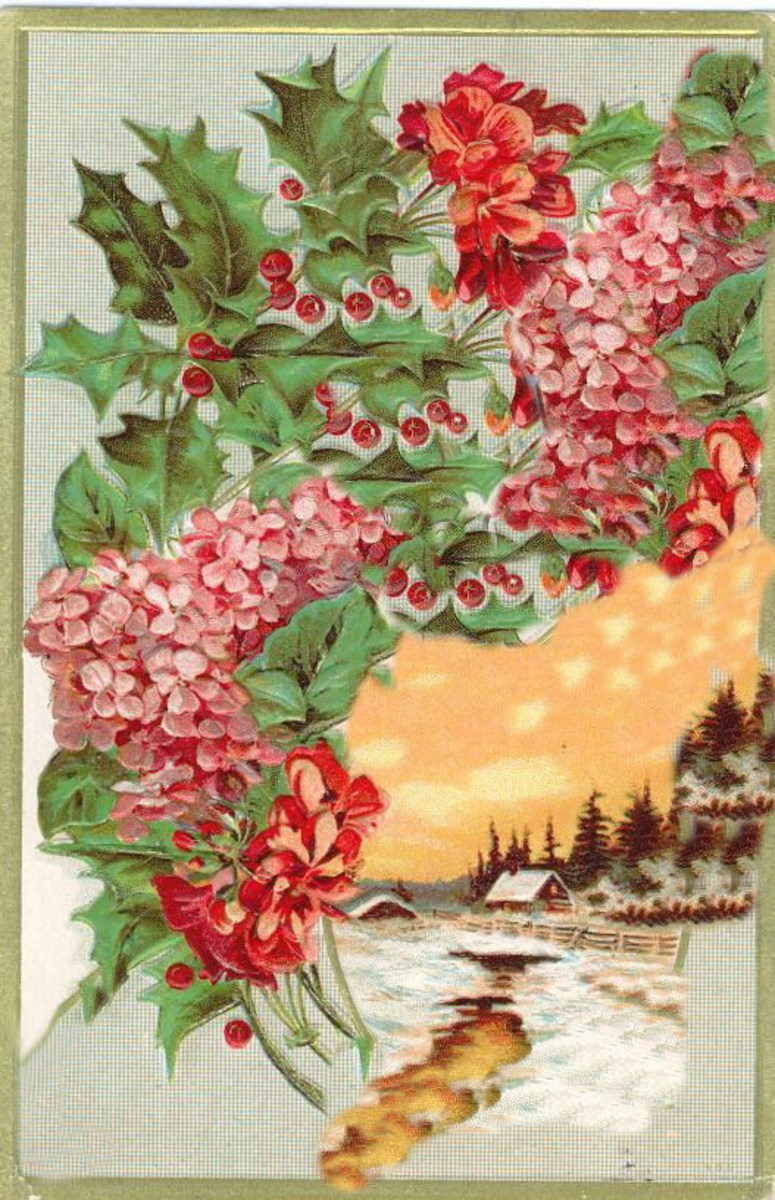 Hydrangea and snow scene vintage Christmas card