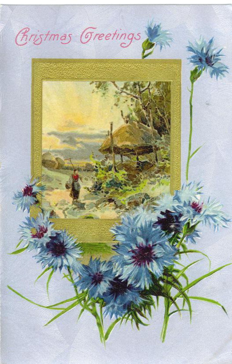 Blue floral Christmas card