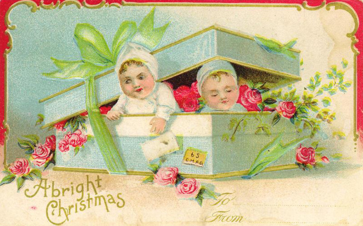 Babies and roses vintage Christmas card