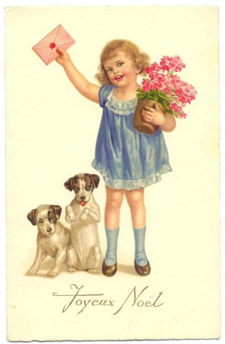 Little girl, puppies and geraniums vintage Christmas card