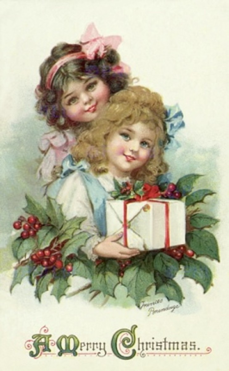 Little girls with holly and presents
