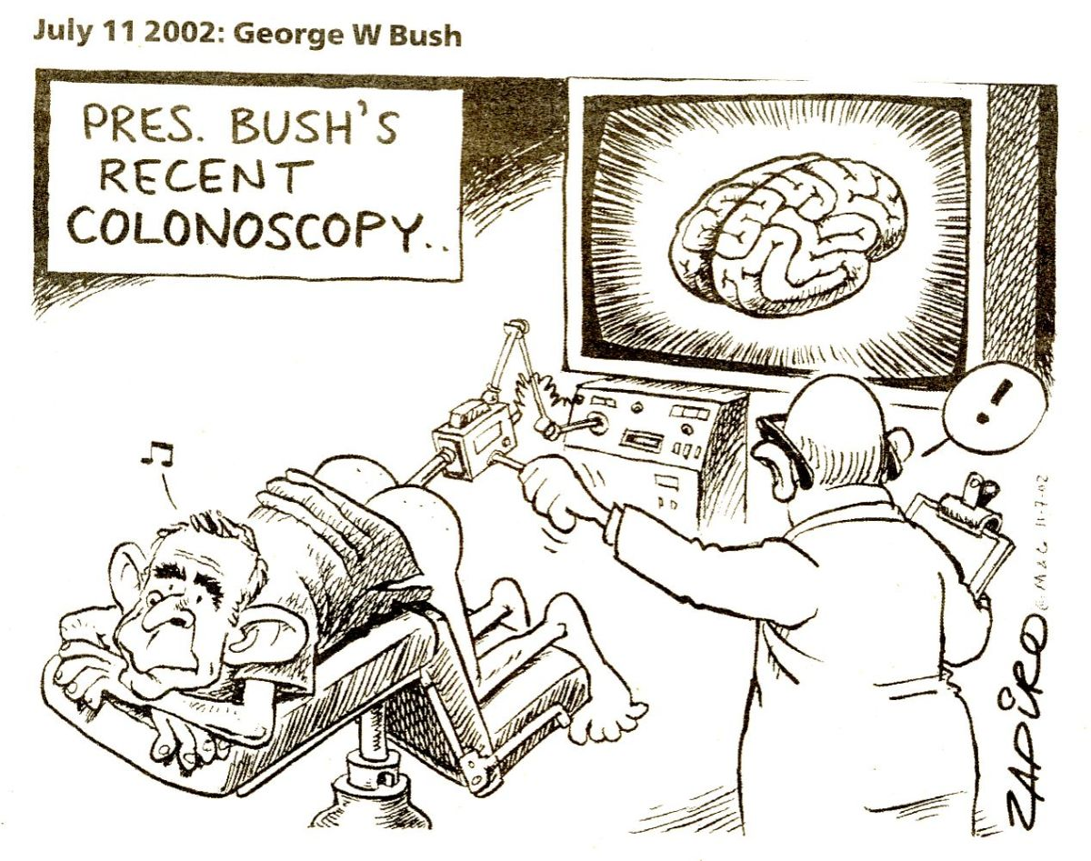 Bush's colonoscopy - Zapiro's 2002 cartoon