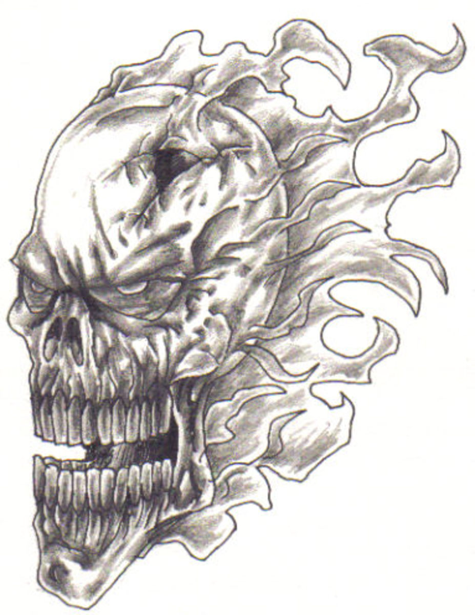 A flaming skull drawing concept.