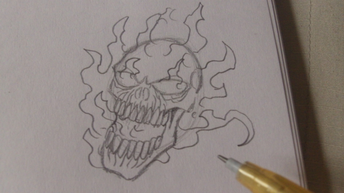 Sketch random flames around the skull head