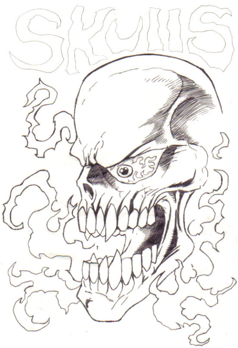 A Line Drawing of a flaming skull, just to see what could work from a different angle.
