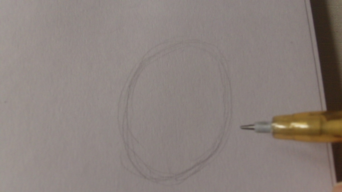 Draw a rough oval shape for the skull