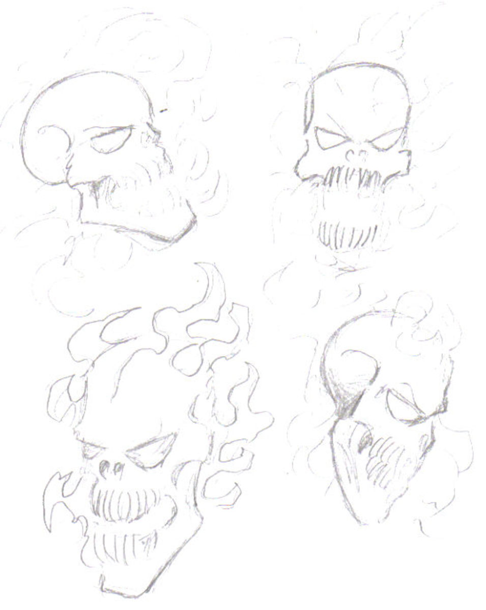 A few sketches of flaming skulls to exercise the mind.