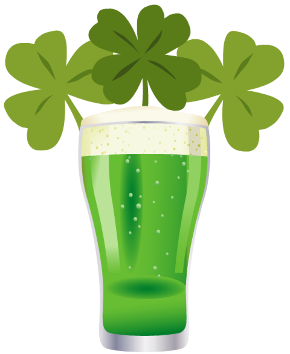 Three green shamrocks and a glass of green beer clip art