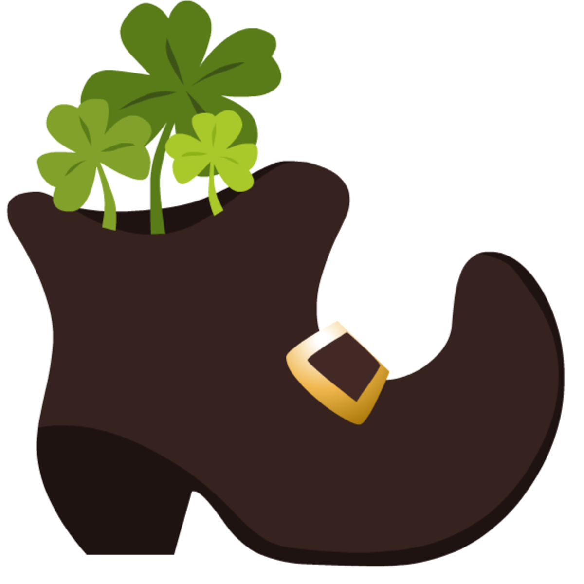 Three green shamrocks in a leprechaun's boot clip art
