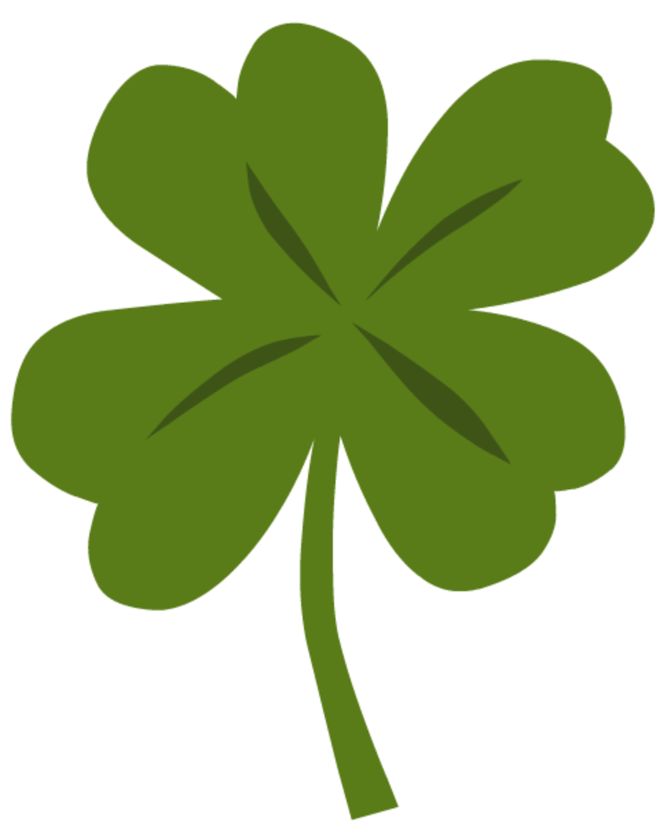One green four-leaf clover clip art
