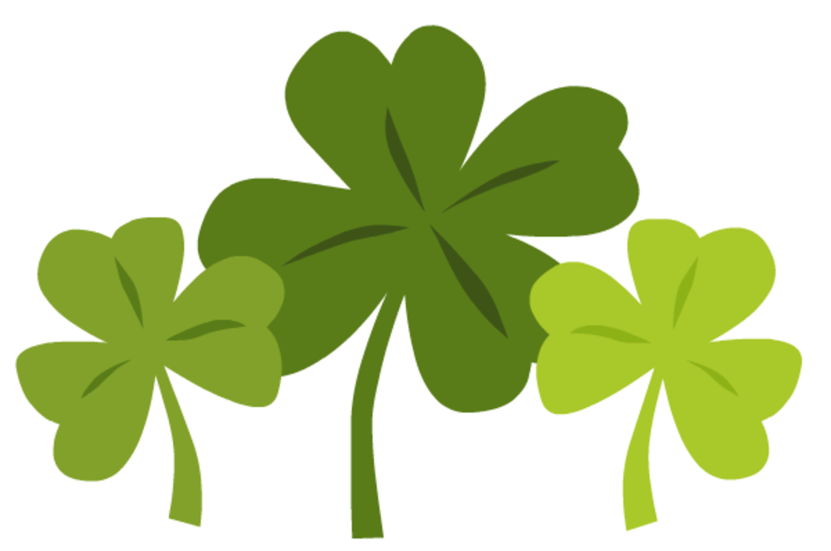 Three green shamrocks St. Patrick's Day clip art