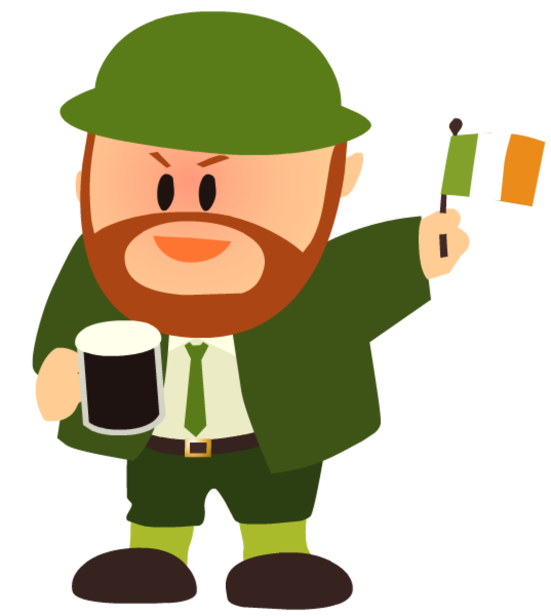 Patriotic Irishman waving Irish flag free clip art