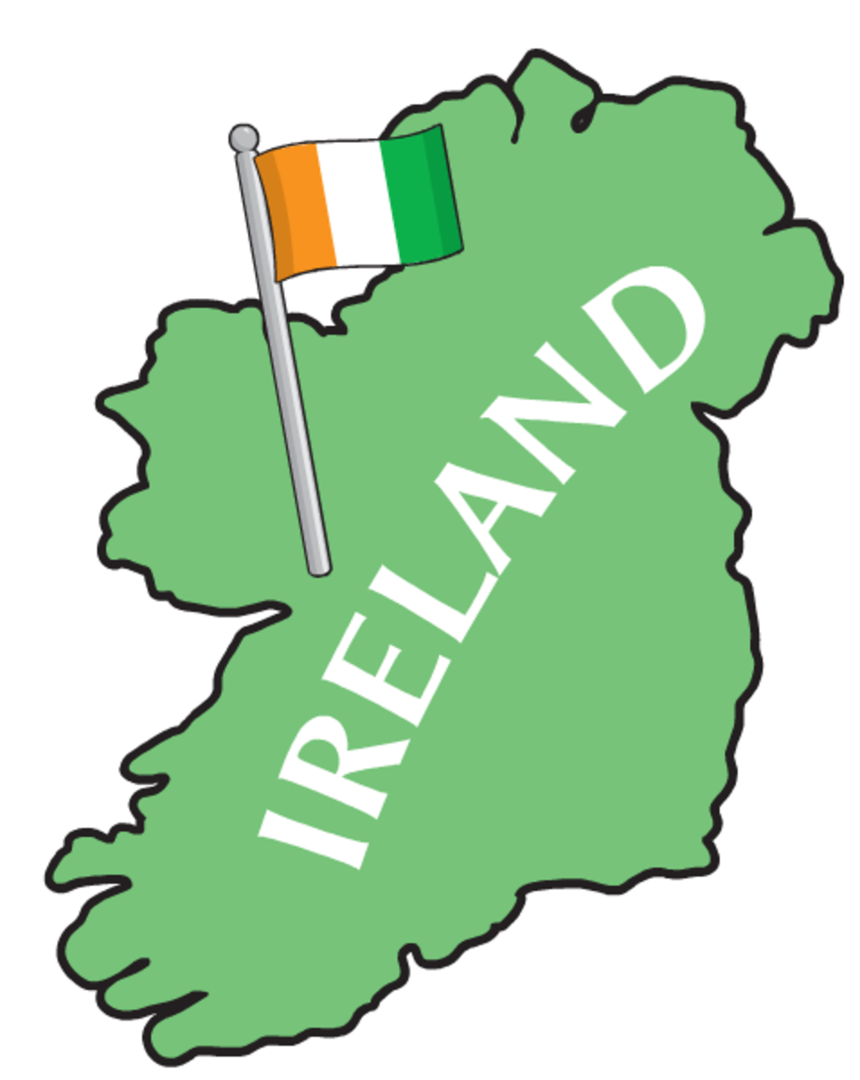 Map of Ireland with Irish flag clip art