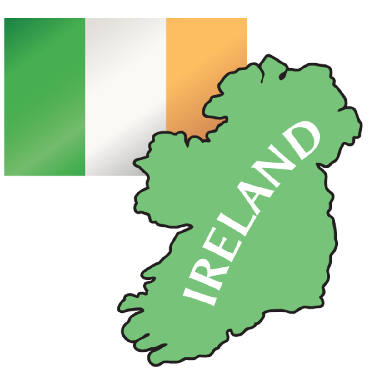 Irish flag with map of Ireland clip art