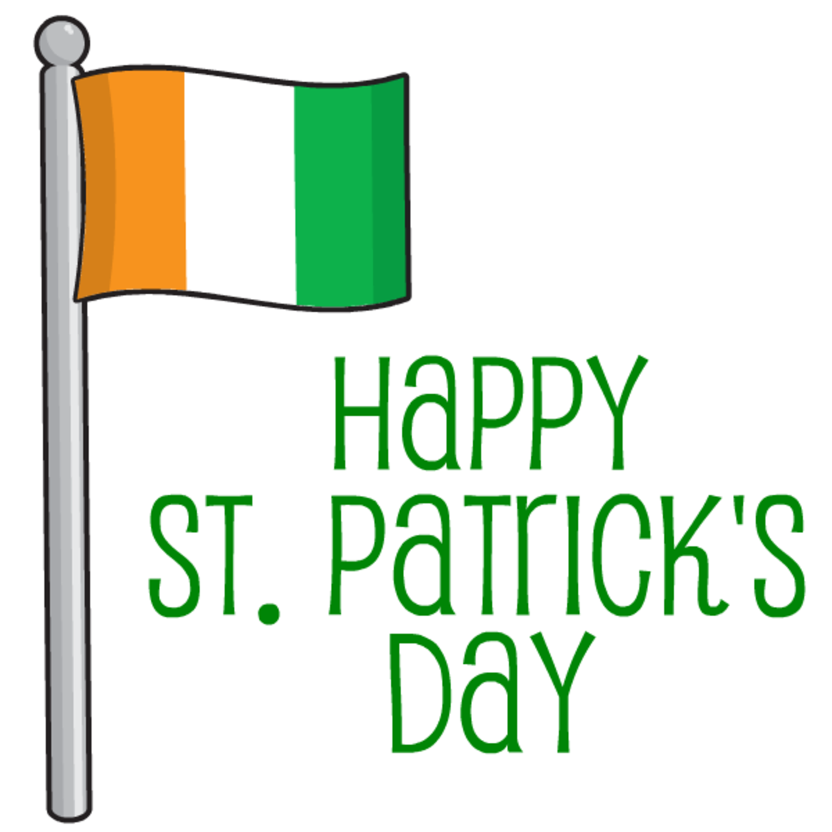 Irish flag with Happy St. Patrick's Day clip art