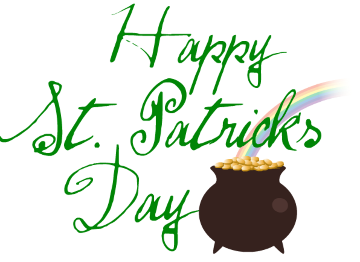 Happy St. Patrick's Day clip art with pot of gold