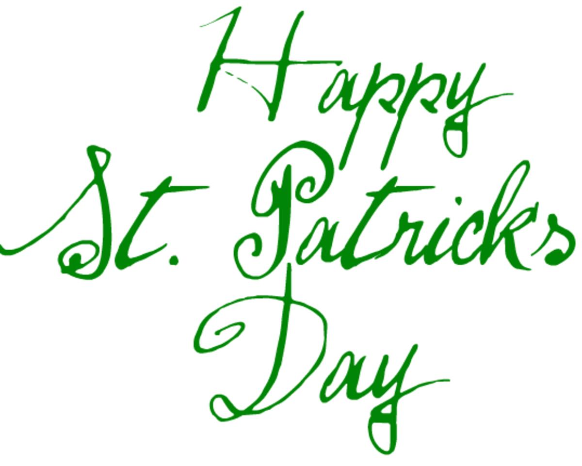 Happy St. Patrick's Day in funky script font