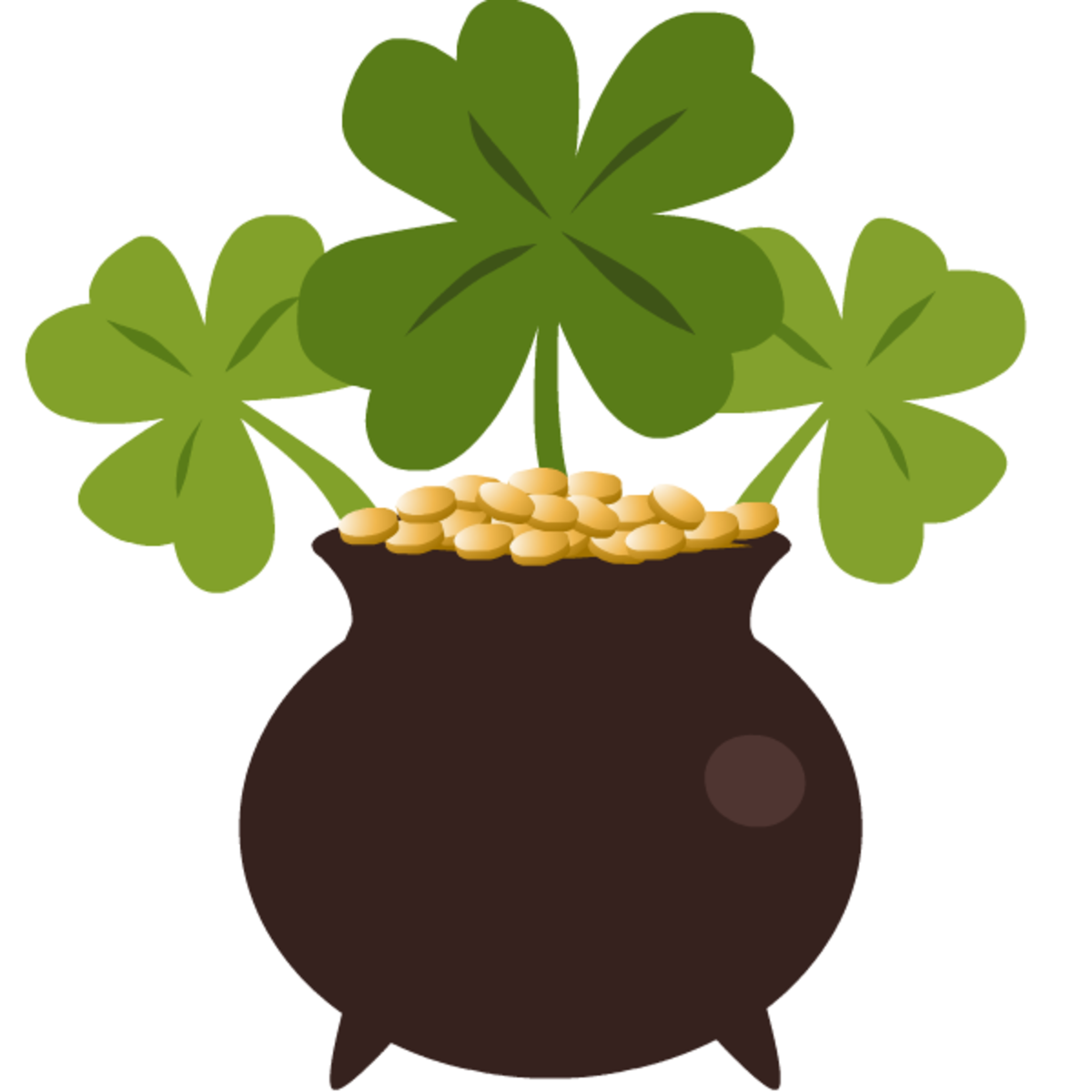Pot of gold and three four-leaf clovers clip art