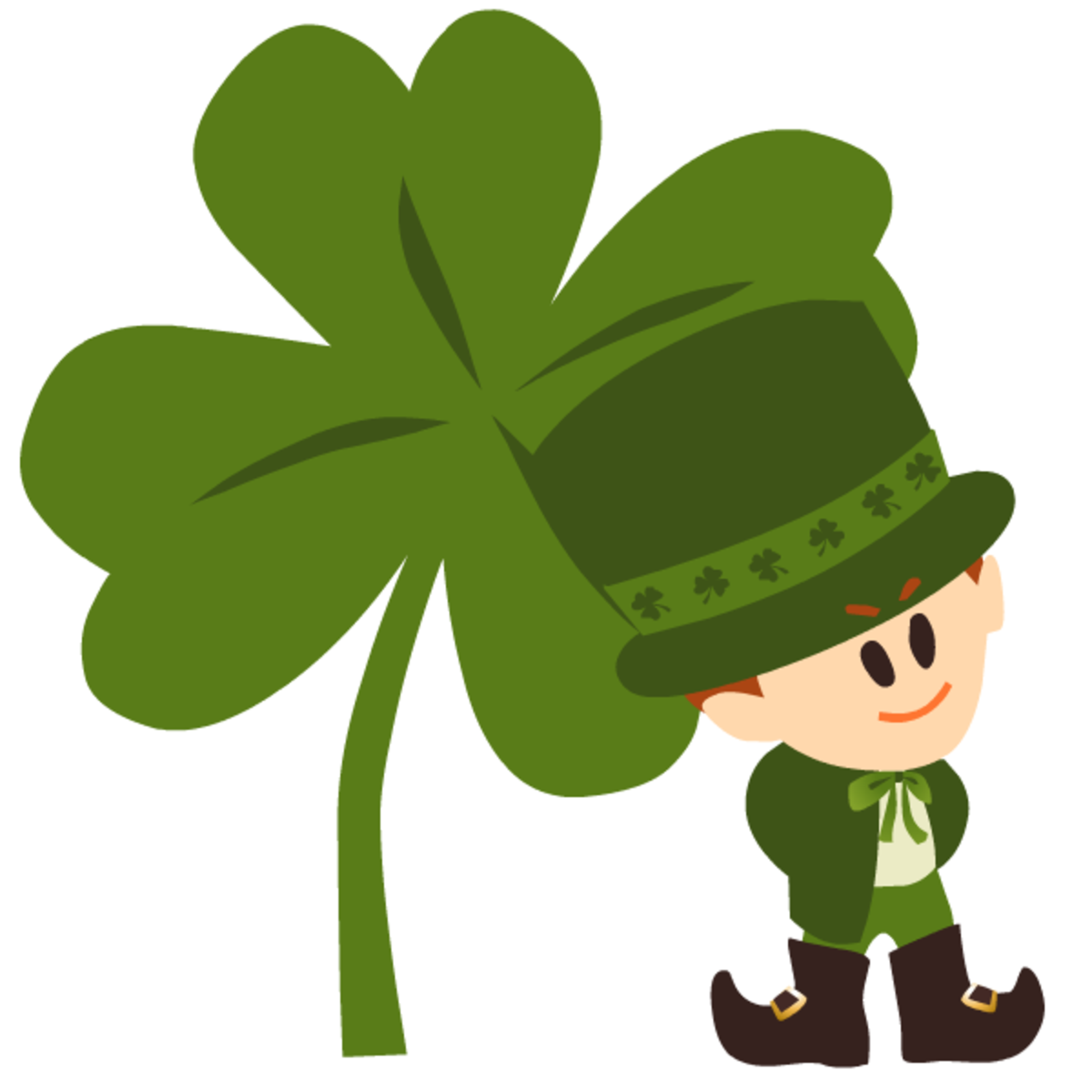One green four-leaf clover with leprechaun