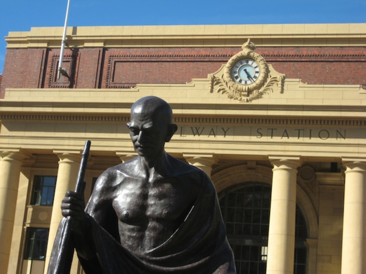 Close up of Mahatma Gandhi's statue in front of Wellington Railway Station.