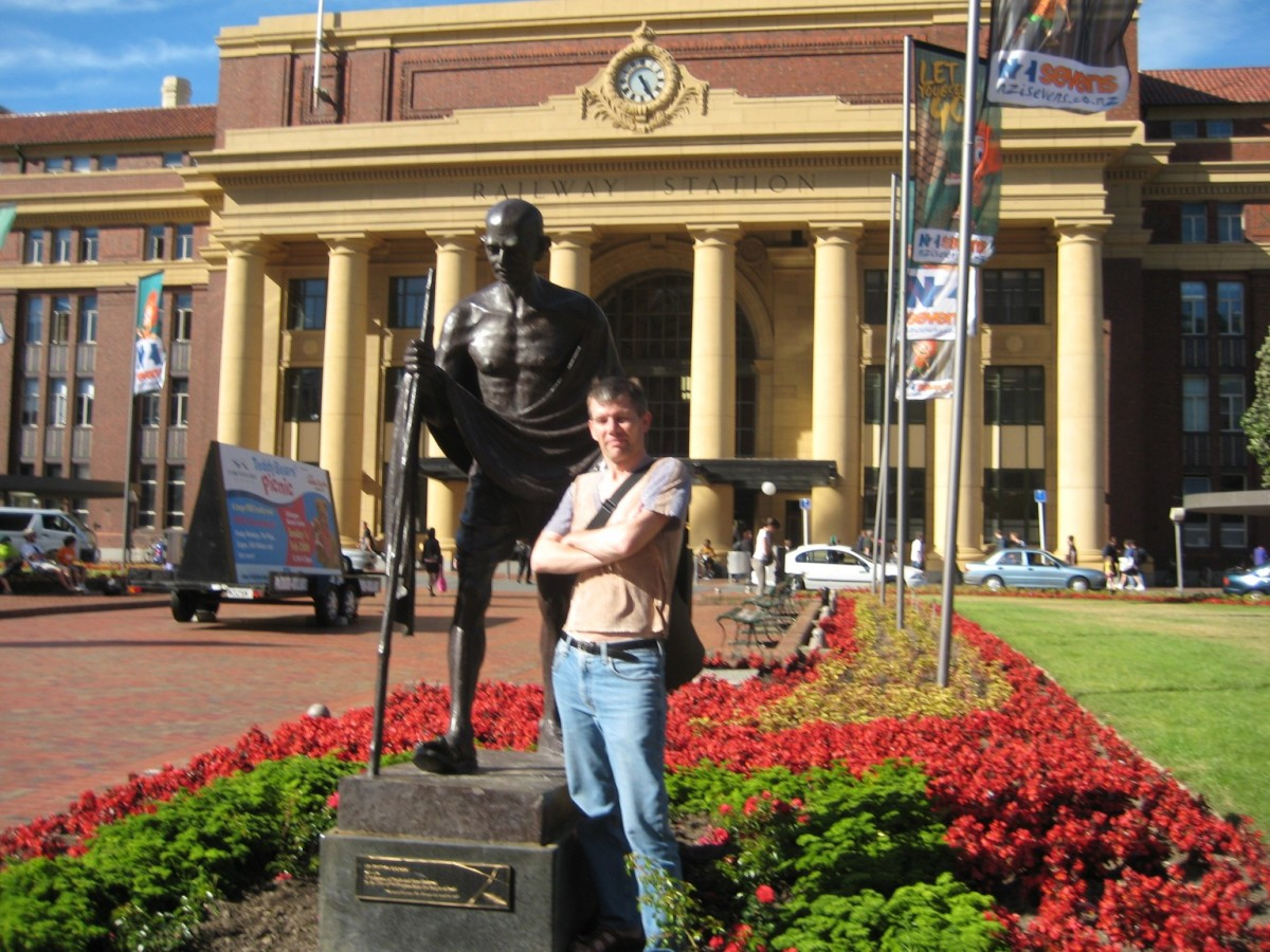 The Gandhi statue is in front of the Wellington Railway Station, Wellington, New Zealand