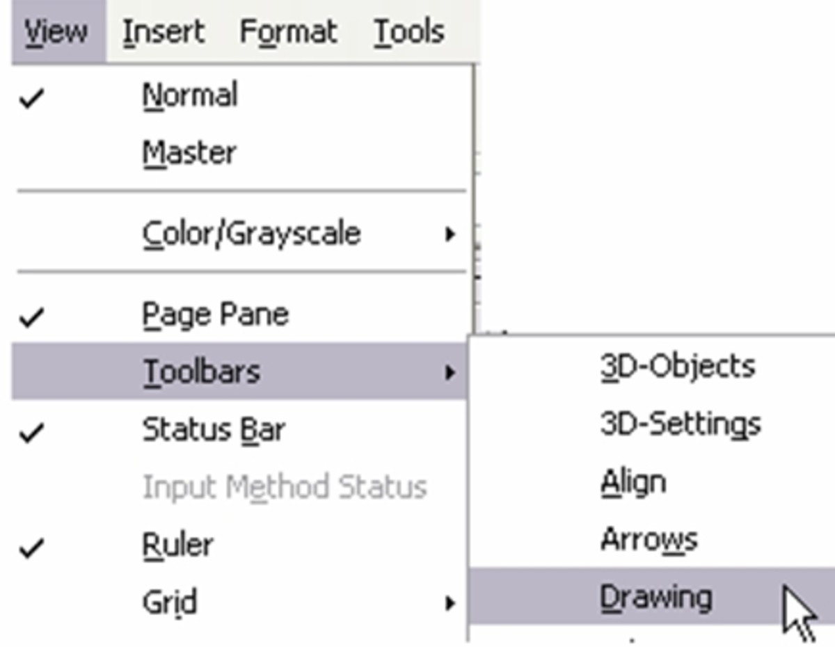 Open Office View / Toolbars / Drawing