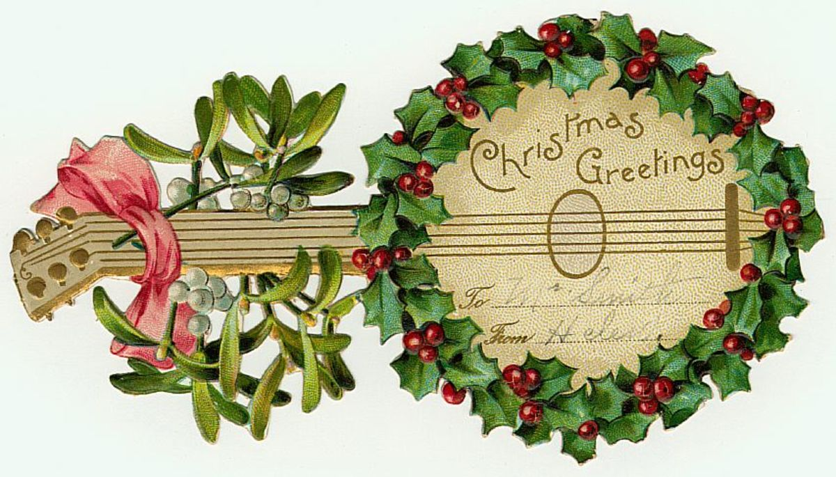 Vintage gift tag: banjo surrounded by holly and mistletoe
