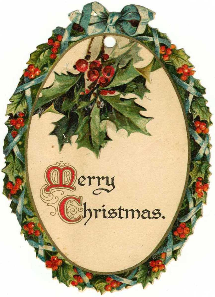 "Free vintage gift tag: oval ""Merry Christmas"" wreath with holly"