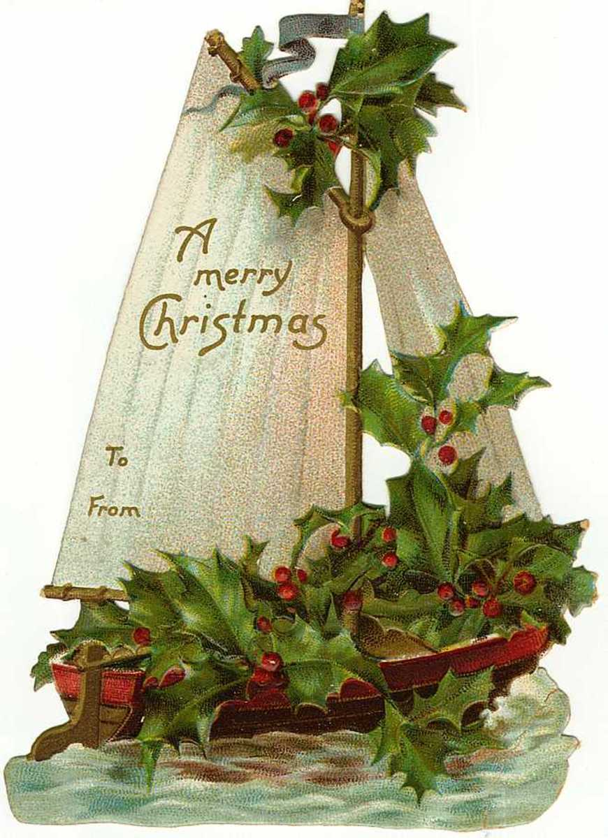 Vintage gift tag: Sailboat with holly