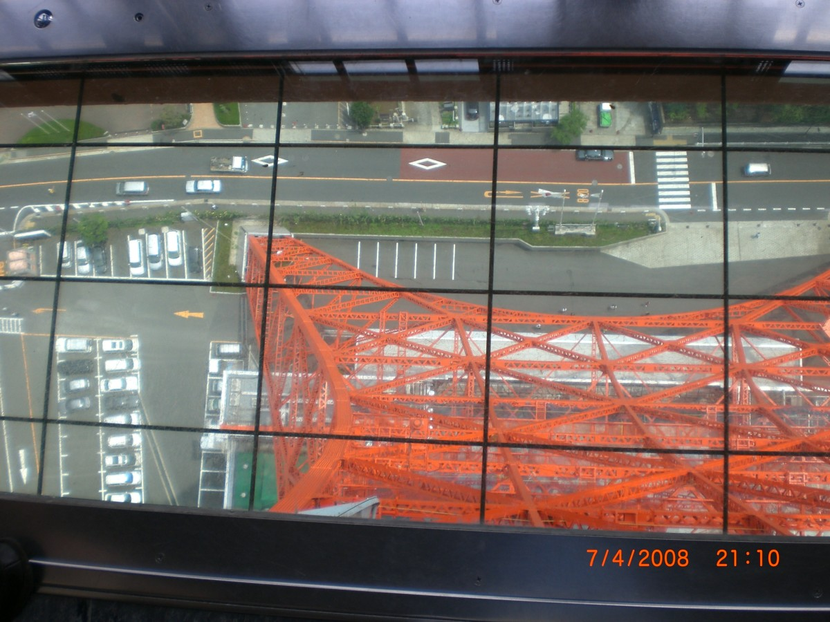 View Street through glass from the top of Tokyo Tower